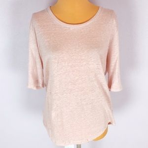 Who What Wear Blush Pink Linen Travel Top